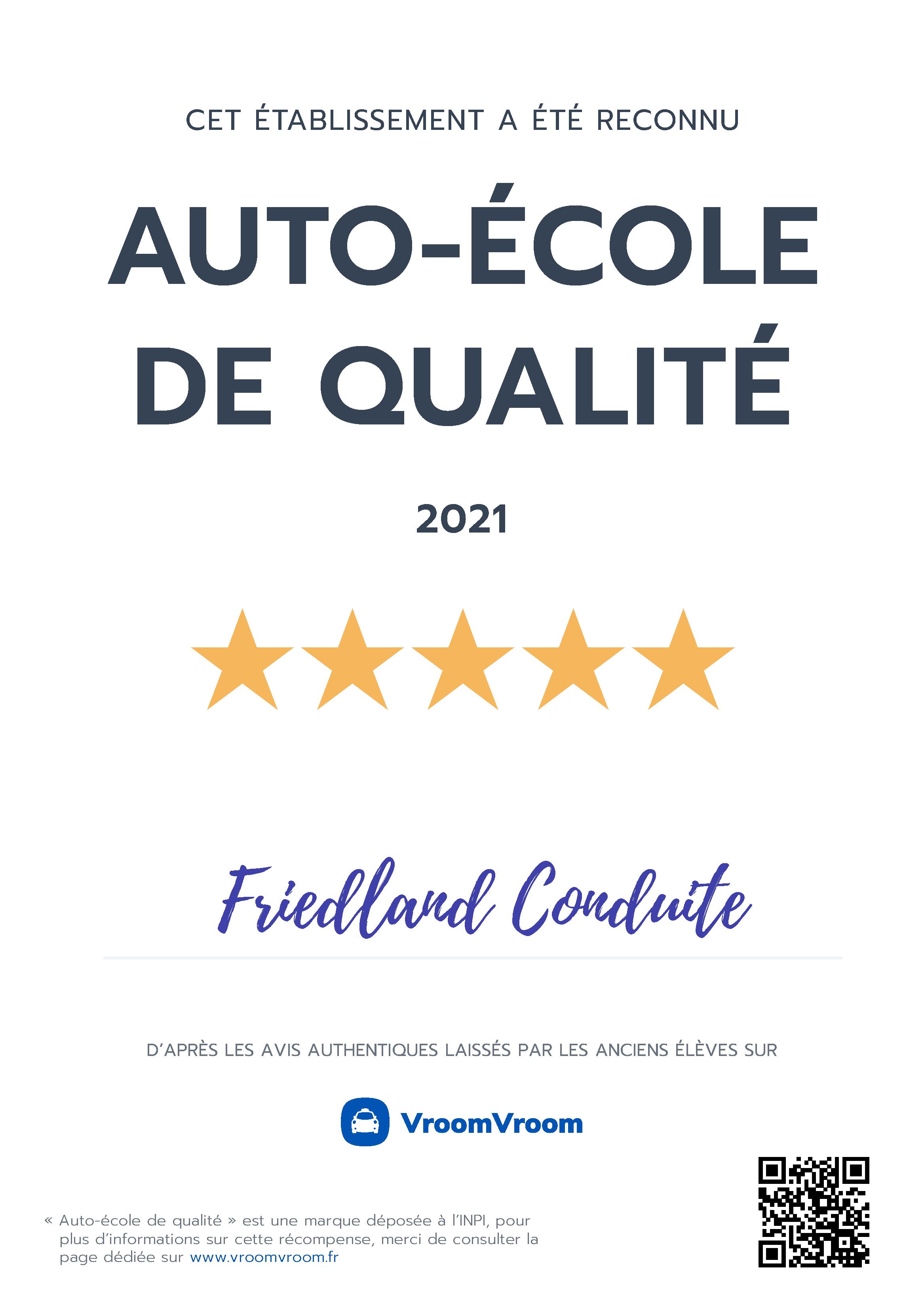 Auto-école de qualité 2021
